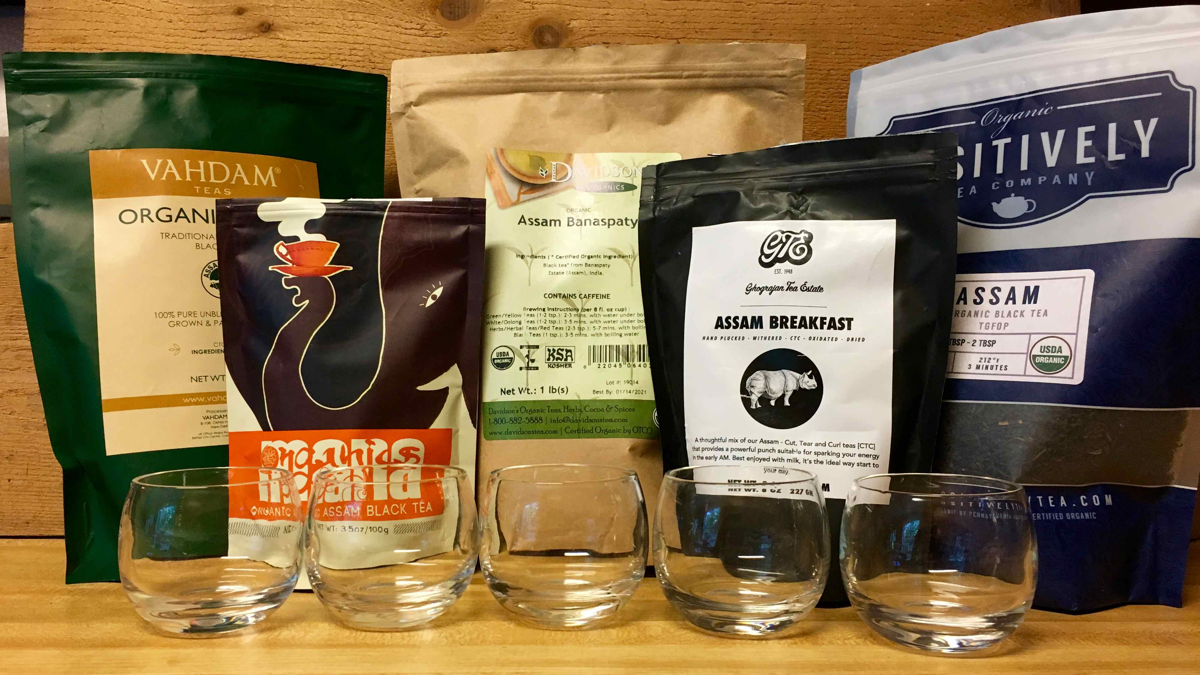 The five excellent Assam teas reviewed in this post.