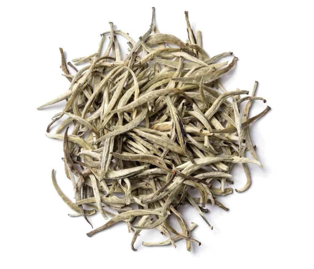 Silver needle white tea, dried and ready to drink